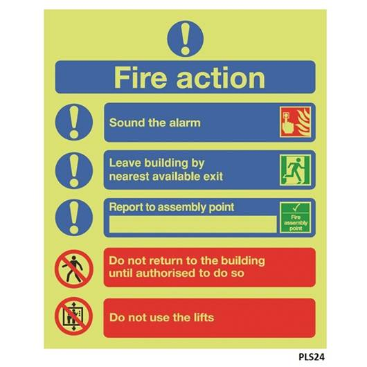 Picture of Photoluminescent Fire Action Sign