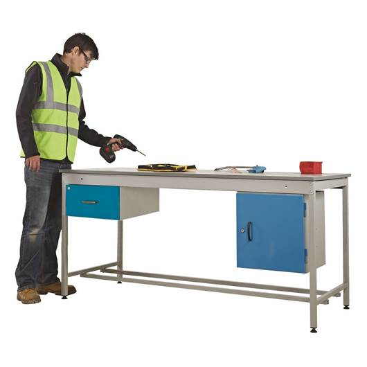 Picture of Taurus Utility Workbench with Single Drawer & Cupboard - From Stock