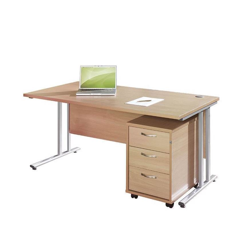 Picture of Maestro Desking - Straight Desk Bundle with 3 Drawer Pedestal - White Worktop